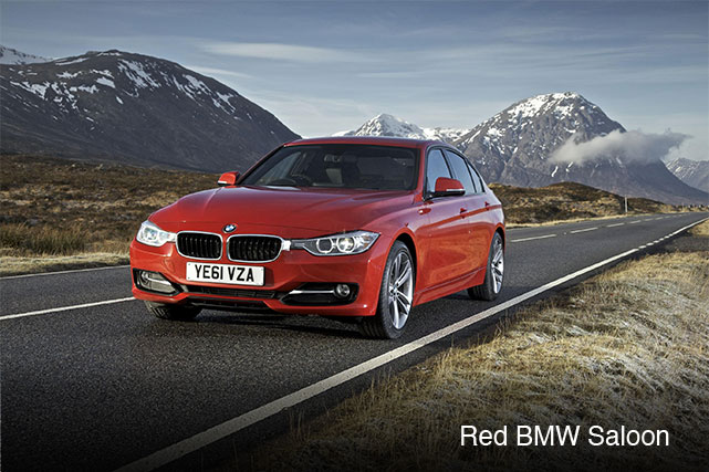 Red BMW Saloon